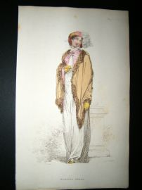 Ackermann 1812 Hand Col Regency Fashion Print. Morning Dress 8-42